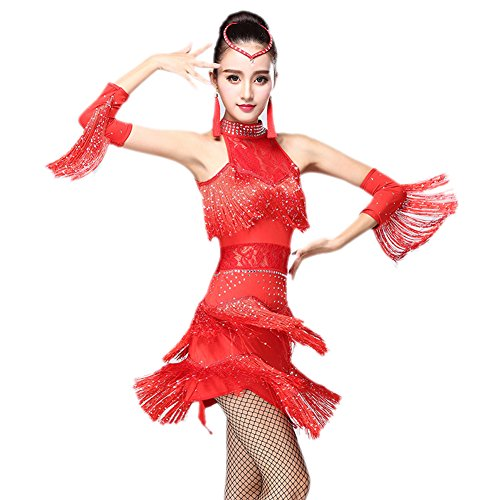 eiten Damen Quasten Swing Rhythmus Jazz Latein Dance Kleid Rot L (Tanzabend Ballett Kostüme)