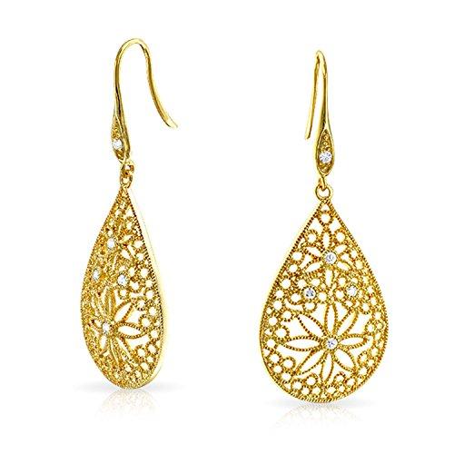 Boho Großen Birnenförmigen Blume Filigrane Ohrhänger Für Damen Französische Kabel 14K Vergoldet Sterling Silber 925