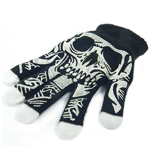 Zoelibat - Magic LED Glove - LED Finger Handschuh RECHTS mit Totenkopf Muster - Gr. S - schwarz / weiß