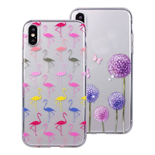 2xCoque iPhone X,Etui iPhone X Housse Rosa Schleife Ultra Slim Silicone Souple Housse TPU Gel Transparente Case léger Fin Portable Telephone Bumper arriere Coque Protection Protective Smart Cover Poch b