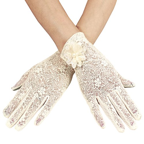 Dokpav Spitzen Handschuhe Touchscreen kapazitiver Bildschirm Sonnencreme UV-Schutz Kurze Handschuhe Dünn Rutschfest Frau -Hochzeit Im Freien Fahrrad Elektroauto Auto-Sommer Herbst