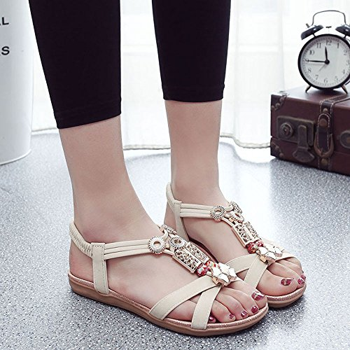 Longra Donne Rilievo piatto di Open Toe Sandals Beige