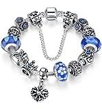 FLORAY Bracciale per le ragazze Blu Bead, Cuore Charm , Lunghezza: 20 cm