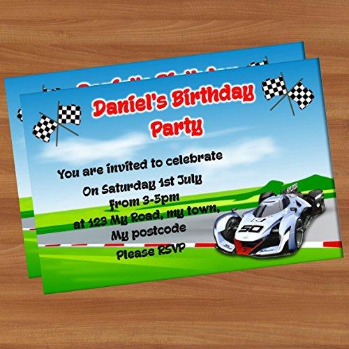 10Invitation de fête d'anniversaire personnalisés A6brillant Pi21voitures de course