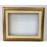 Cornice in legno con passepartout per tela o fotografia,profilo gola liscia argento e oro effetto anticato,interno cm30x40