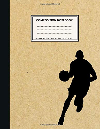 Preisvergleich Produktbild Graph Paper Composition Notebook: 1 / 4 inch squares / BASKETBALL Brown Paper Soft Cover / Large (8.5 x 11 inches) Letter Size / 120 Square Grid Pages / Blank Quad Ruled Retro Notes