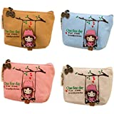 OURBAG Elegant Ladies Sweet Canvas Mini Swing Girls Coin Wallet Pouch Purse Key Holder