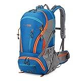 ZMLSXU 45L große Kapazität Nylon Stoff Reisen Bergsteigen Wandern Tasche Molle Rucksack wollen mit Ihnen gehen, um rot blau schwarz zu erkunden (Farbe : Blau)