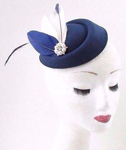 Crème Bleu marine Argent Plume Chapeau bibi courses vintage Cheveux 40S 649 * exclusivement Vendu par Starcrossed Beauty *