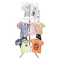 HOMFA Clothes Airer Drying Rack Garment Hanger 3 Tier Portable Stand with 24 Clips(180*64m)
