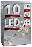 10er LED-Lichterkette Batteriebetrieb warmweiss + Timer transparentes Kabel (20102)