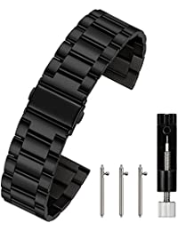 Berfine Unisex Stainless Steel Quick Release Watch Strap 16 mm 18 mm 20 mm 22 mm 24 mm M04, 22mm