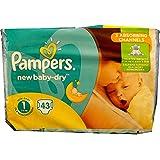 Pampers New Baby-Dry Lot de 43 couches pour bébé, Taille : 1, poids nouveau-né : 2- 5 kg