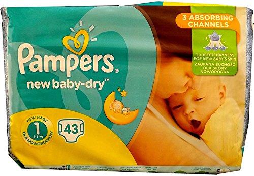 43 Pampers Windeln New Baby DRY Gr. 1, 2-5 KG (Gewicht: 2-5KG) NEWBORN