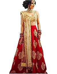 Sr Sales Women's Taffeta Silk Lehenga Choli (Red Diamond Choli _Red Diamond_ Free Size)