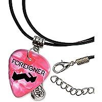 Foreigner Band Logo Gitarre Plektrum Schnur Halskette Pink Necklace (H)