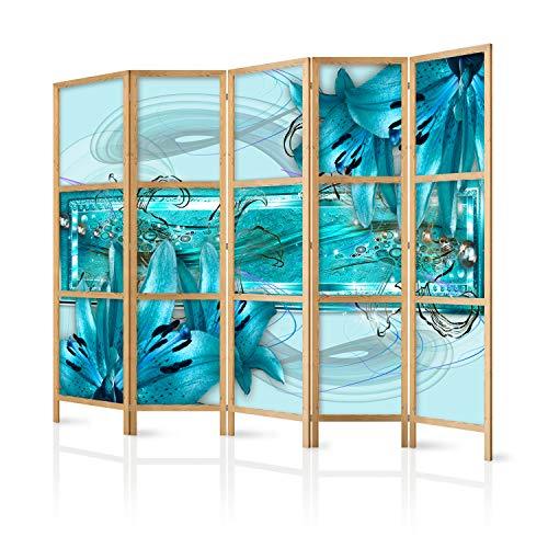 murando - Paravent XXL Blumen Lilien Abstrakt blau 225x171 cm - 5-teilig - einseitig - eleganter Sichtschutz - Raumteiler - Trennwand - Raumtrenner - Holz - Design Motiv - Deko - Japan b-C-0387-z-c
