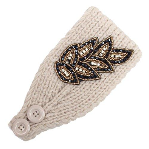 band Handarbeit Behalten Warm Haarband,Hirolan Blumenstirnband Frau Elegant Stirnband Neu Hairband Frau Stricken Wolle Haarschmuck (42X10cm, Beige) ()