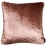 McAlister Textiles Glänzender Samt   Kissenhülle für Sofa, Couch in Altrosa   50 x 30cm   gedrückter Samt edel paspeliert   in 11 Farben erhältlich   Kissenhülle für Samtkissen