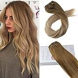 Moresoo 18 Zoll/45cm Echthaar Clip In Remy Extensions Für Komplette Kopf #8 Hellbraun to #16 Blondine Glatt Haarverlängerung Balayage Haarfarbe 7 Tressen 120g