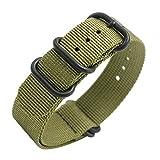 Uhrenarmband NATO Strap 20mm 22mm Premium Ballistic Nylon Militär Uhr Armband 5 Ringe Schwarz Swiss Zulu Uhrenband mit Federstege Werkzeug und 4 Federsteges Bonus (22mm, Army Green)