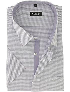 ETERNA Herren Kurzarm Hemd aus 100% Baumwolle Comfort Fit mit Kent Kragen tailliert geschnitten Gr. 49 Flieder...
