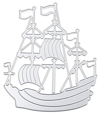 BeautyBouse 1pcs Metal Sailing Ship DIY Cutting Dies Stencil Scrapbooking Card Paper Embossing Template Moulds Album Craft Decor