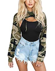 Hoodie Tops Sudadera Mujeres Camuflaje Impreso Hollow Out Mini Camiseta de manga larga corta Casual Blusas de jersey Minzhi