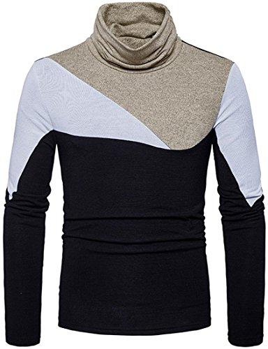 Black Cashmere Turtleneck Pullover (Sportides Herren Casual Long Sleeve Slim Fit Pullover Turtleneck Knitted Sweater Top JZA295 Black XS)