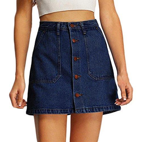 Xiahbong Damen Sommer Hohe Taille Beiläufiger Vertikaler Knopf Baumwollstoff Rock (S, Blau) (Kleid Pullover Rosette)