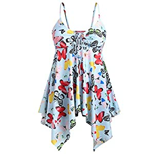 Kobay Frauen Plus Size Bikini Butterfly Print Gepolsterte Badebekleidung Baden Beachwear