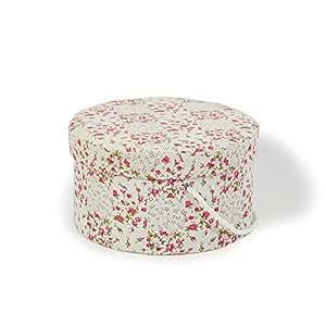 Style Vintage Shabby Chic Floral Boîte à chapeau ronde-Crème - 22 cm