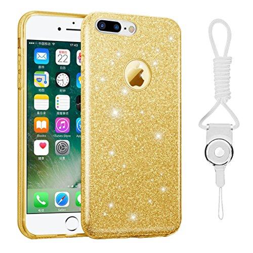 iphone 7 plus case, Hanlesi lucida copertura [bling chiarissimo] [slim fit] 3 strato ibrido con brio premio trasparente tpu custodia per apple iphone 7 Plus 5,5 Inch Oro
