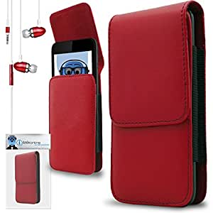 iTALKonline ZTE Open Red PREMIUM PU Leather Vertical Executive Side Pouch Case Cover Holster with Belt Loop Clip and Magnetic Closure Includes Red Premium 3.5mm Aluminium High Quality In Ear Stereo Wired Headset Hands Free Headphones with Built in Mic Microphone and On Off Button