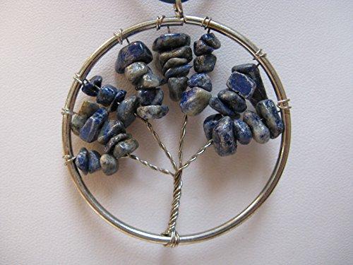 Natural Mente - Lebensbaum, Baum des Lebens, Anhänger für Halskette, Amulett, inkl. Stoffband, Splitter, Edelstein, Lapislazuli,Nr.5
