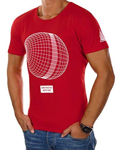 JACK & JONES Herren T-Shirt jcoANAKIN Tee Print Mehrfarbig Oversize (XL, Rot (Fiery Red Fit:OVERSIZE)) (Print Tee Abstract)