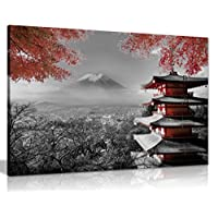 Japanese Temple In Autumn Black White Red Canvas Wall Art Picture Print (30X20)