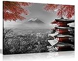 Panther print Impression sur toile Temple japonais en automne nuances de Noir Blanc et Rouge, noir/rouge/blanc, A1 76x51 cm (30x20in)