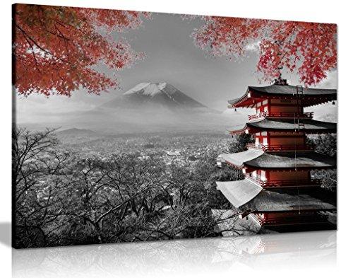 Lienzo con impresión de templo japonés en otoño