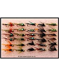 Trout Fly Fishing Flies 30 GOLD HEADED NYMPHS SET 33J by Arc fishing supplies