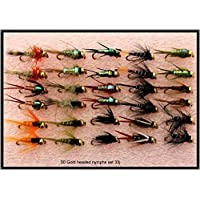 Trout Fly Fishing Flies 30 GOLD HEADED NYMPHS SET 33J In 3 Different Sizes