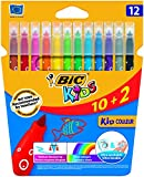 BIC Kids Kid Couleur - Blíster de 10 + 2 rotuladores de colorear para aprendizaje, multicolor