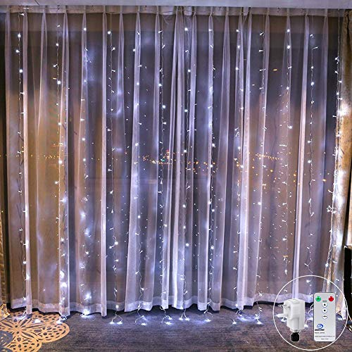 2M x 2M White Curtain Fairy Lights Remote Waterfall Window Light Icicle Fairy Lights,204 LED, DC31V Safety Voltage