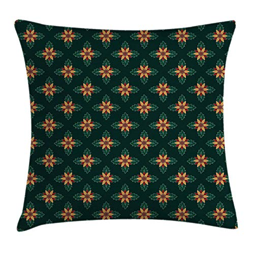 Trsdshorts Garden Art Throw Pillow Cushion Cover, Ornamental Flowers with Dark Background Festive Plant Arrangement, Decorative Square Accent Pillow Case, 18 X 18 inches, Apricot Ruby Dark Green -