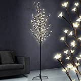 Jago - Arbre Lumineux à 220 LED Fleurs Blanc Chaud Hauteur 220 cm (Taille au Choix)