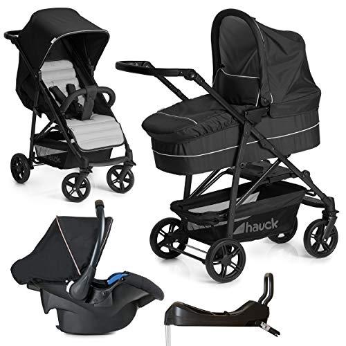 Hauck 10-teiliges Kinderwagen Set 3in1 - Rapid 4 Plus Trio Set - inkl. Babyschale (Maxi-Cosi) & Isofix-Basis fürs Auto/Kombikinderwagen ab Geburt bis 25 kg