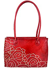 ZINT WOMEN'S HAND TOOLED HAND PAINTED PURE LEATHER SHANTINIKETAN RED FLORAL HANDBAG SHOULDER TOTE BAG