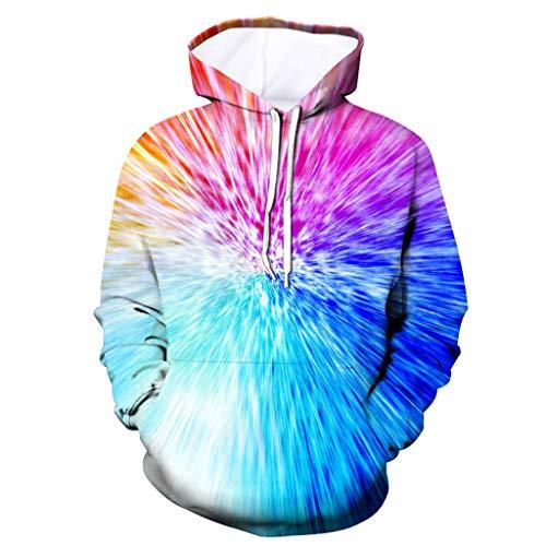Das mit Kapuze aktive Sweatshirt der Männer, ☆Elecenty☆ 3D druckte Pullover-Neue Art-Kapuzenpulli-langärmlige Strickjacke übersteigt Outwear (Crewneck Blume Männer)