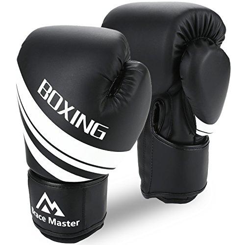 Brace Master Guantoni Boxe Guanti Boxe Uomini Donne 8-16 OZ Gel Infuso in Pelle, Guanti da Allenamento per Sparring, Kickboxing, Punzonatura Borsa, Combattimento, Muay Thai (Nero, 8-OZ)