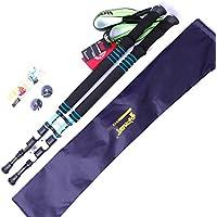 Bastoni da trekking, confezione da 2, carbonio Lock ultraleggero outdoor alpinismo bastone da sci, escursionismo/Walking/da arrampicata, con stick (Rosso, Blu, Giallo), Blue